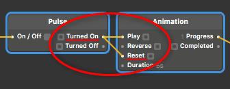 「Turned On」を「Reset」に繋ぐ
